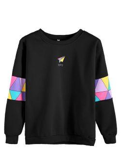 Women's Top Long Sleeve Color Block Paper Airplane Graphic Print Patchwork Trim Tee Shirt Sweatshirt