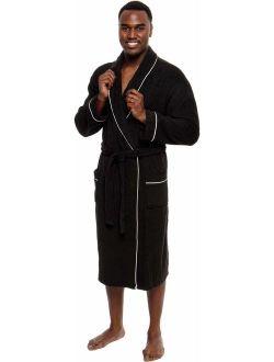 Ross Michaels Mens Soft Sherpa Lined Luxury Spa Bath Robe 3//4 Length Plush Non Hooded Robe