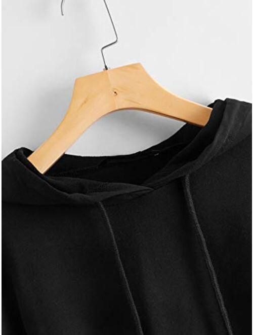 SweatyRocks Women's Letter Print Color Block Long Sleeve Crop Top Hoodies Pullover Sweatshirt