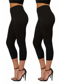 Conceited Premium Ultra Soft High Waisted Capri Leggings for Women - Regular and Plus Size - Many Colors