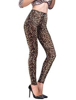 RIKKI Women's Elastic Large Leopard Print Gradual Change Leggings