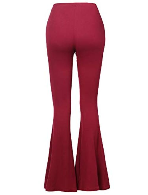 SSOULM Women's Stretchy Wide Leg High Waist Bell Bottom Flare Pants with Plus Size