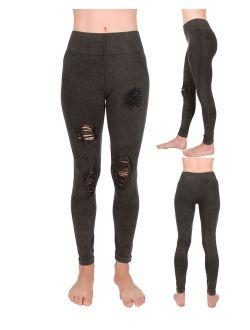 Hallygurl Junior's Stretchy Distressed Ripped Jean Denim Look Jeggings Legging Thights