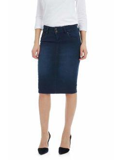 ESTEEZ Women's Denim Pencil Skirt - Knee Length - Stretch Jean - Beverly Hills