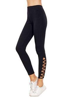 Women's Cutout Leggings Skinny Yoga Pants Runing Jogger Active Tight