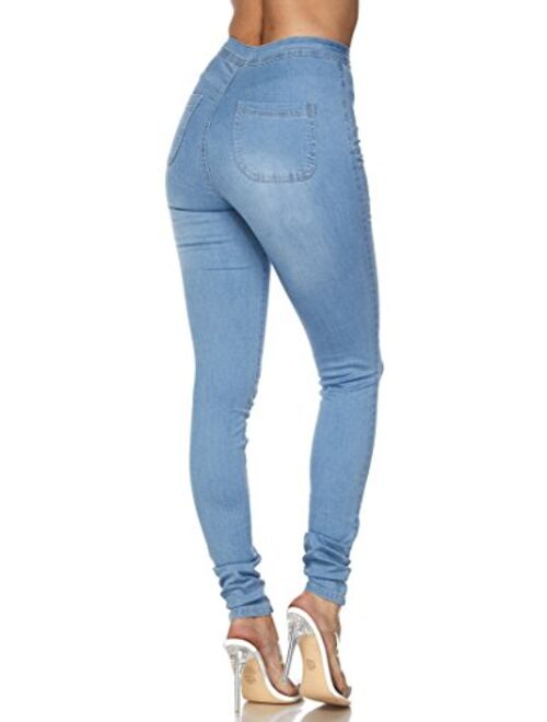 SOHO GLAM Super High Waisted Stretchy Skinny Jeans in 10 Colors (S-XXXL)