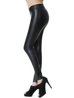 Everbellus Sexy Black Faux Leather Leggings for Women Fashion Pants