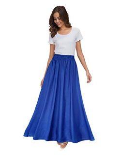 Sinono Women's Chiffon Retro Maxi Skirt Vintage Ankle-Length Skirts