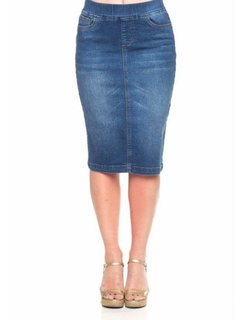GoModest Women's Midi Casual Modest Knee Length Denim Jean Pencil Skirt