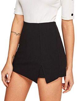 WDIRARA Women's Contrast Binding Knot Side Mid Waist Asymmetrical Skirt Shorts