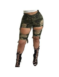 Women Sexy Destroyed Ripped Bermuda Shorts Outfit Denim Cut Hot Pants Army Jeans