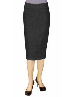 Baby'O Women's Basic Below The Knee Stretch Denim Pencil Skirt