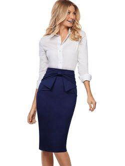 VFSHOW Womens Pleated Bow High Waist Slim Work Office Business Pencil Skirt