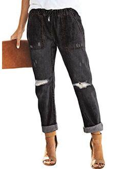 GOSOPIN Women Drawstring Elastic Waistband Loose Pants Jogger Denim Jeans