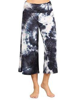 HEYHUN Women's Solid Tie Dye Wide Leg Flared Capri Boho Gaucho Pants w/Lace Detail S-3XL