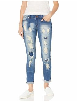 Cover Girl Women's High Waisted Cute Ripped Patched Repair Blue Skinny Juniors
