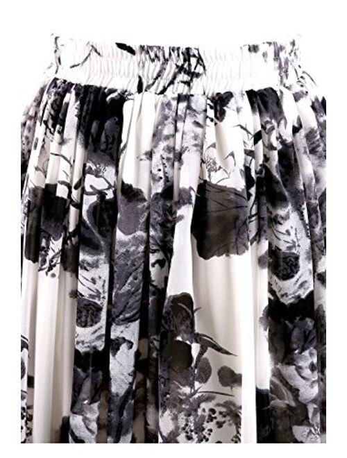 Topdress Women's Floor Length Beach Skirt Floral Print Chiffon Maxi Skirts