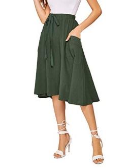 Women's Casual High Waist Pleated A-line Midi Skirt With Pocket