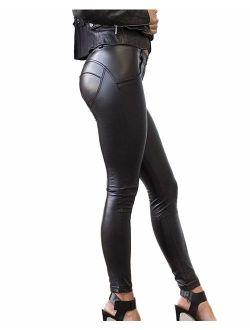 Crocodile Women Faux Leather Leggings Pants PU Push Up Stretchy High Waist Tight