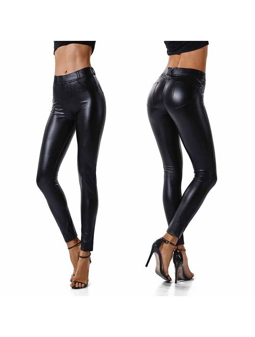 SEASUM Women's Faux Leather Leggings Sexy  Pants PU Elastic Shaping Hip Push Up Black Stretchy High Waisted Tights