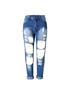 RieKet Women Distressed Boyfriend Ripped Jeans for Juniors
