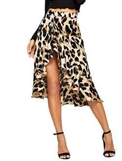 Women's Ruffle Trim High Split Leopard Print Midi Skirt