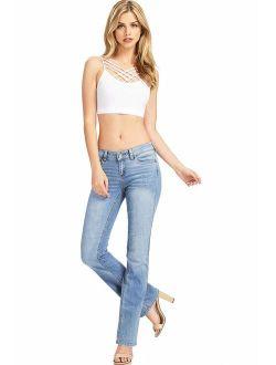 Wax Women's Juniors Mid Waist Boot Cut Jeans + Free Bra