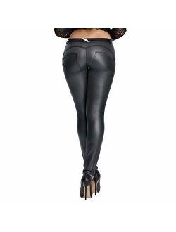 DALLNS Faux Leather PU Elastic Shaping Hip Push Up Pants Black Thick Sexy Leggings