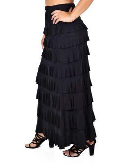Dare2BStylish Women Waterfall 8 Tiered Boho Layered Maxi Skirt | Reg & Plus Sizes