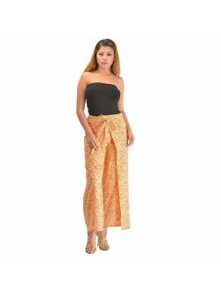 Skirts 'N Scarves Women's 100% Cotton Wrap Palazzo Pants Beige, Floral Printed OneSize