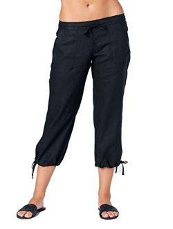 Mariyaab Women's Wide Leg Casual 100% Linen Capri Pants with Drawstring and Leg tie