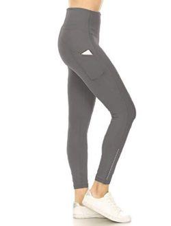 High Waist Active Flex Tummy Control Athletic Pocket Yoga Leggings with Fashion Reflective Dots