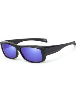 CAXMAN Fit Over Glasses Sunglasses with Polarized Lens for Women Men, Small Size
