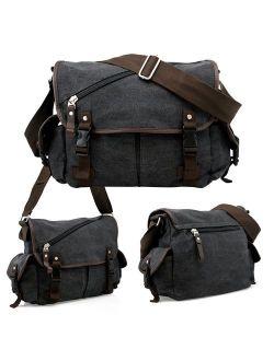 Oct17 Men Messenger Bag School Shoulder Canvas Vintage Crossbody Military Satchel Bag Laptop