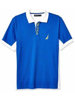 Men's Short Sleeve Color Block Performance Pique Polo Shirt