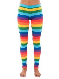 Striped Rainbow Leggings - Neon Rainbow Tights for Women
