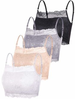4 Pieces Women's Lace Cami Stretchy Half Cami Breathable Lace Bralette for Women Girls Supplies