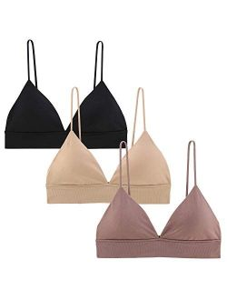 INIBUD Bralette for Women Triangle Cups Removable Padded Wire Free Pull On Closure