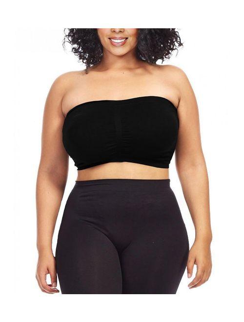 Dinamit Jeans Women's Plus Size Seamless Padded Bandeau Tube Top Bra (S/M-7X/8X)