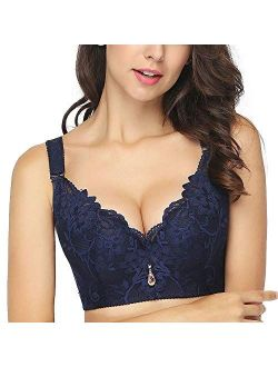 Plus Size Lace Bra C Cup Wide Back Push Up Brassiere for Women