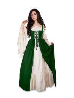 Mythic Renaissance Medieval Irish Costume Over Dress & Cream Chemise Set