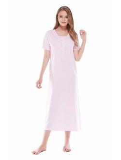 Keyocean Women's Nightgowns 100% Cotton Lace Trim Soft Lightweight Short Sleeve Long Sleepwear for Women