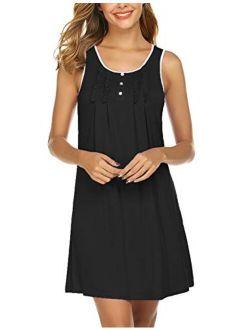 Sleepwear Womens Sleeveless Nightgowns Cotton Night Shirts Sexy Sleep Dress S-xxl