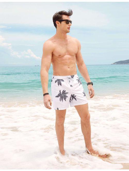 MaaMgic Mens Quick Dry Printed Short Swim Trunks with Mesh Lining Swimwear Bathing Suits