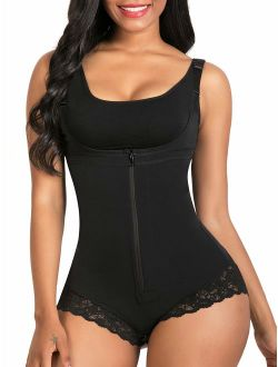 SHAPERX Women Shapewear Fajas Colombianas Body Shaper Lace Zipper Open Bust Bodysuit