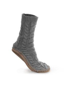 Pembrook Ladies Tall Cable Knit Slipper Socks - Memory Foam + Non-Skid Sole