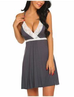 Sleepwear Womens Chemise Nightgown Full Slips Lace Sling Dress Sexy Lingerie S-xxl