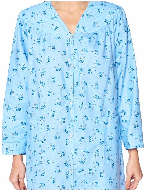 Casual Nights Women's Floral Snap Front Flannel Duster Long Sleeve Lounger Dress