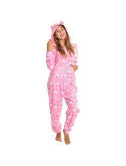 Angelina Women's & Kid's Fleece Novelty One-Piece Hooded Pajamas