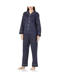 Women's Lightweight Button Down Pajama Set, Long Cotton Pjs